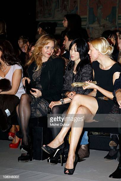 Julie Ferrier LinhDan Pham and Anna Sherbinina attend the Elie Saab show as part of the Paris Haute Couture Fashion Week Spring/Summer 2011 at Palais...