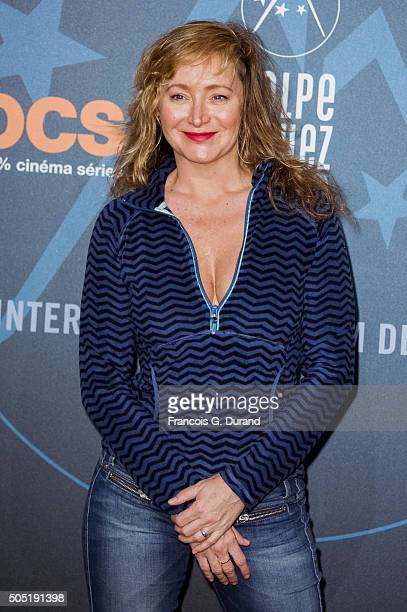 Julie Ferrier poses at a photocall during the 18th L'Alpe D'Huez International Comedy Film Festival on January 15 2016 in Alpe d'Huez France