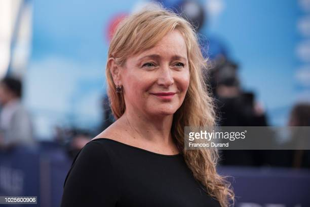 Julie Ferrier poses on the red carpet before the opening ceremony of the 44th Deauville US Film Festival on August 31 2018 in Deauville France