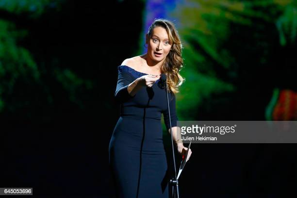 Julie Ferrier speaks on stage during the Cesar Film Awards Ceremony at Salle Pleyel on February 24 2017 in Paris France