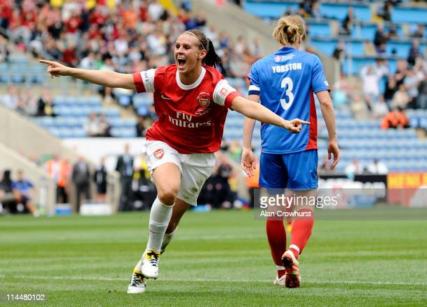 Julie Fleeting celebrates after scoring for Arsenal during the Women's FA Cup Final between Arsenal LFC and Bristol Academy at The Ricoh Arena on May...