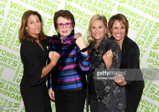 Julie Foudy Billie Jean King Donna de Varona and Mary Carillo pose backstage during The Women's Sports Foundation's 39th Annual Salute To Women In...