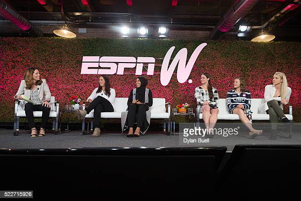 Julie Foudy moderates a panel discussion featuring from left Maggie Steffens Ibtihaj Muhammad Adeline Gray Melissa Stockwell and Julie Johnston...
