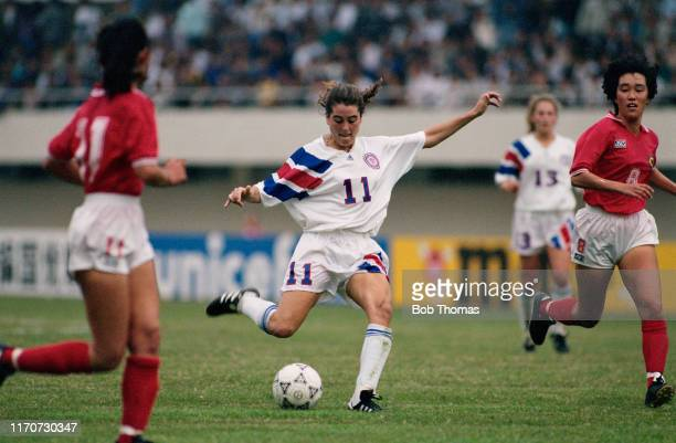 Julie Foudy of the United States in action during play in the 1991 FIFA Women's World Cup group B match between Japan and the United States at the...