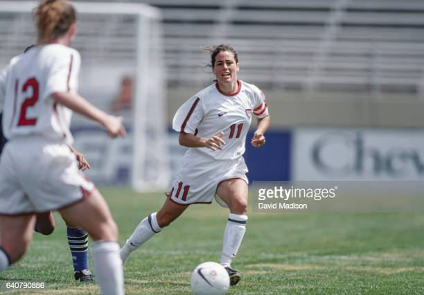 Julie Foudy of the United States plays in an international friendly against Argentina on April 26 1998 at Spartan Stadium in San Jose California