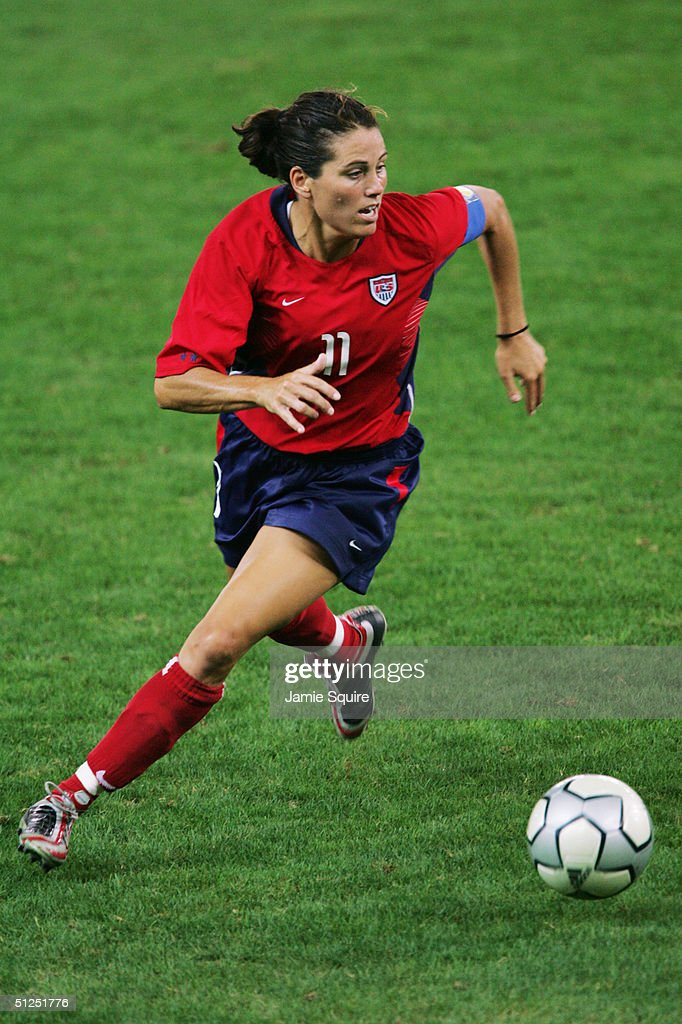 Julie Foudy of the USA competes in the women's football gold medal match on August 26, 2004 during the Athens 2004 Summer Olympic Games at Karaiskaki Stadium in Athens, Greece.