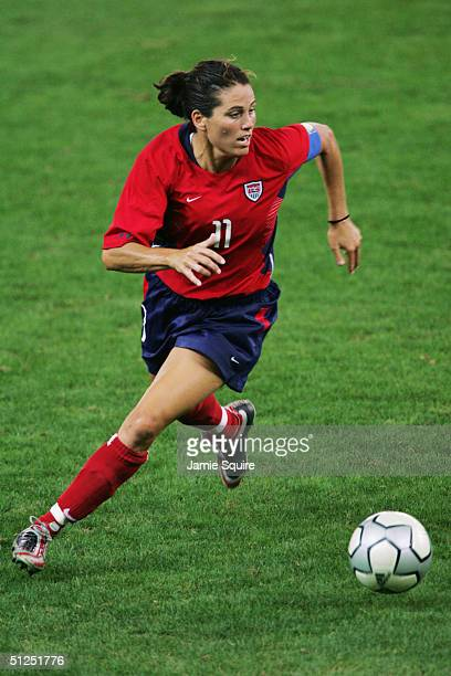 Julie Foudy of the USA competes in the women's football gold medal match on August 26 2004 during the Athens 2004 Summer Olympic Games at Karaiskaki...