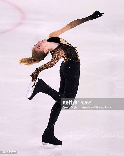 Julie Froetscher of France performs during the junior ladies short program of the ISU Junior Grand Prix of Figure Skating Logrono on October 1 2015...
