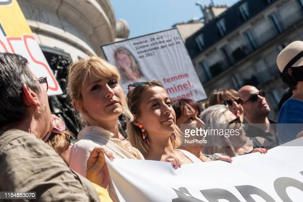 Julie Gayet actress and companion of former President François Hollande was present at a rally that gathered several hundred people on Saturday July...