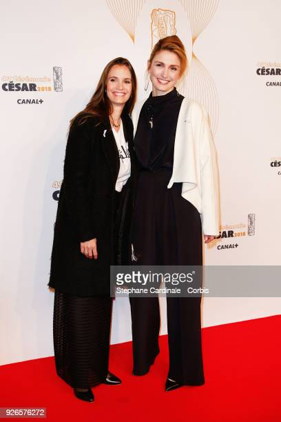 Julie Gayet and a guest arrive at the Cesar Film Awards 2018 at Salle Pleyel at Le Fouquet's on March 2 2018 in Paris France