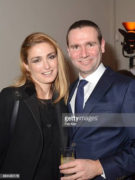 Julie Gayet and Alexandre Ricard attend 'Le Bal Jaune 2015' Dinner Party At Hotel Salomon de Rothschild during FIAC on October 23 2015 in Paris France