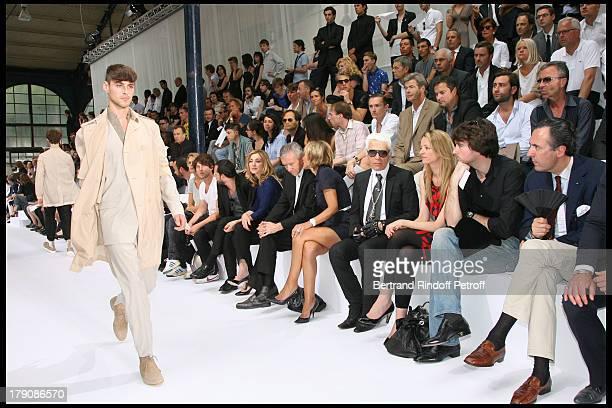 Julie Gayet Bernard Arnault Sa Femme Helene Arnault Karl Lagerfeld Delphine Vallarino Gancia Antoine Arnault and Jaime De Marichalar at Dior Men's...