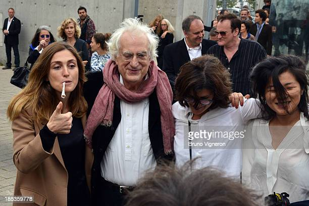 Julie Gayet Bertrand Tavernier and Quentin Tarentino during the reproduction of a French short blackAndWhite silent documentary film directed and...