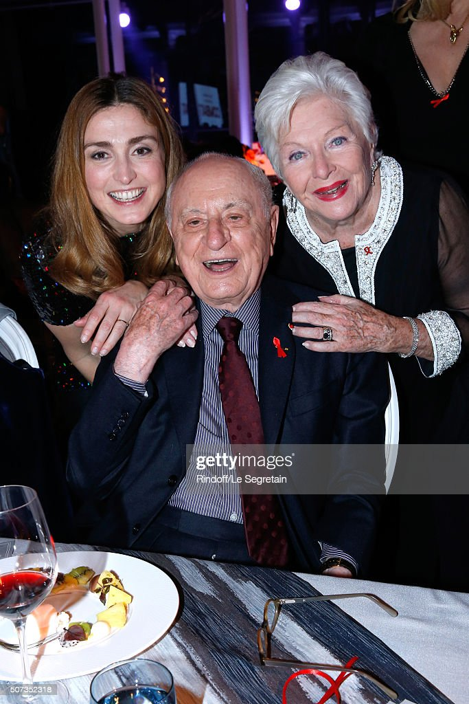 Julie Gayet, Pierre Berge and Line Renaud attend the Sidaction Gala Dinner 2016 as part of Paris Fashion Week. Held at Pavillon d'Armenonville on January 28, 2016 in Paris, France.