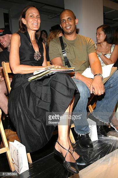 Julie Gilhart and Jay Bell attend the Harmon show during Olympus Fashion Week Spring 2005 at Niccolo September 10 2004 in New York City
