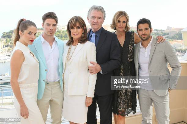 Julie Gonzalo Josh Henderson Linda Gray Patrick Duffy Brenda Strong and Jesse Metcalfe of the Dallas cast pose at the Hermitage Hotel on June 11 2013...