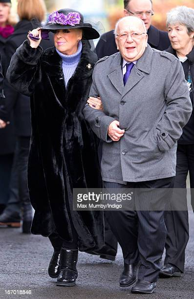 Julie Goodyear and Roy Barraclough attend the funeral of Coronation Street actor Bill Tarmey at the Albion United Reformed Church on November 27 2012...