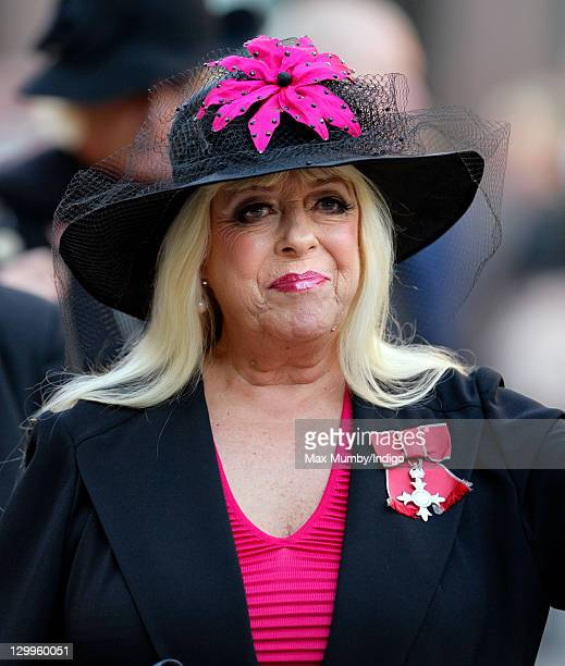 Julie Goodyear attends the funeral of 'Coronation Street' actress Betty Driver at St Ann's Church on October 22 2011 in Manchester England