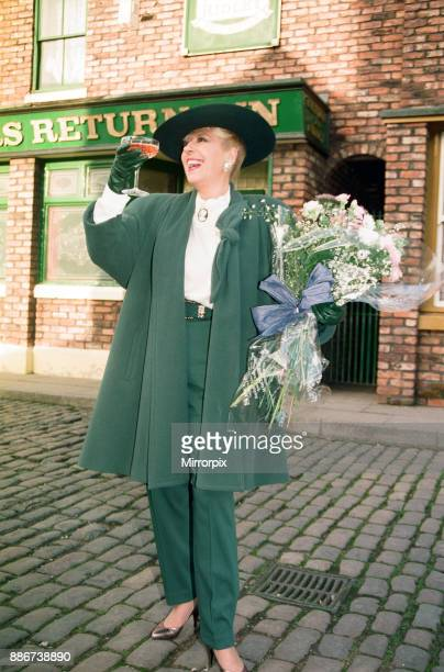 Julie Goodyear is pictured outside The Rovers Return on the set of 'Coronation Street' 24th January 1992