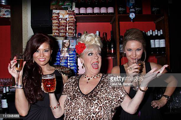 Julie Goodyear with Jessica Wright and Sam Faiers from The Only Way Is Essex attends the Virgin Media Powered by TiVo launch party on March 30 2011...