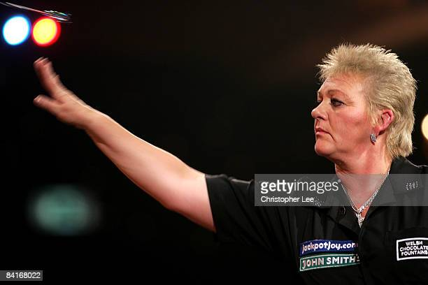 Julie Gore of Wales in action against Rilana Erades of Holland during the Lakeside World Darts Championships 1st Round match at Lakeside on January 4...