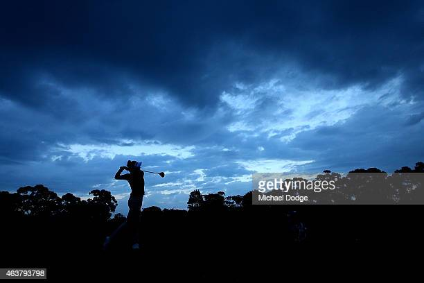 Julie Greciet of France plays an approach shot on the 10th hole during day one of the LPGA Australian Open at Royal Melbourne Golf Course on February...