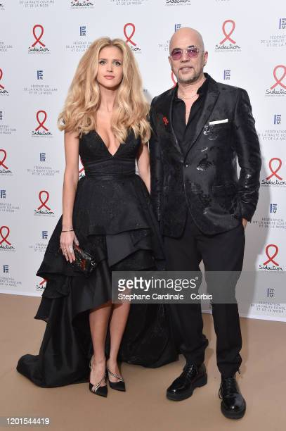 Julie Hantson and Pascal Obispo attend Sidaction Gala Dinner 2020 At Pavillon Cambon on January 23, 2020 in Paris, France.