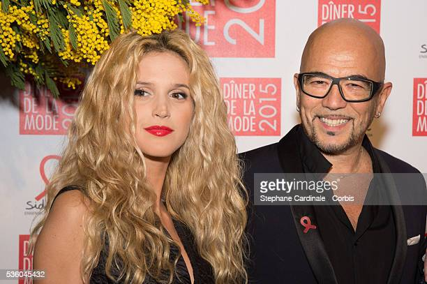 Julie Hantson and Pascal Obispo attend the Sidaction Gala Dinner 2015 at Pavillon d'Armenonville on January 29 2015 in Paris France