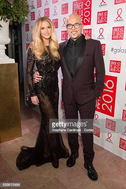 Julie Hantson and Pascal Obispo attend the Sidaction Gala Dinner 2016 as part of Paris Fashion Week on January 28 2016 in Paris France