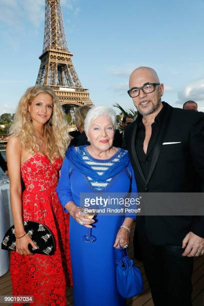 Julie Hantson Line Renaud and Pascal Obispo attend Line Renaud's 90th Anniversary on July 2 2018 in Paris France
