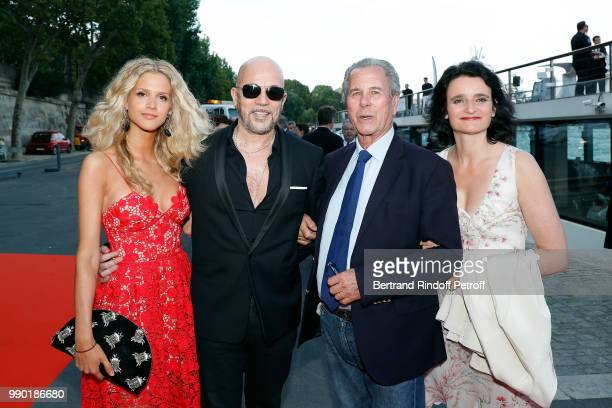Julie Hantson Pascal Obispo JeanLouis Debre and Valerie Bochenek attend Line Renaud's 90th Anniversary on July 2 2018 in Paris France