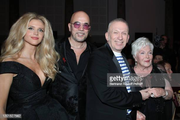 Julie Hantson Pascal Obispo JeanPaul Gaultier and Line Renaud attend the Sidaction Gala Dinner 2020 at Pavillon Cambon on January 23 2020 in Paris...