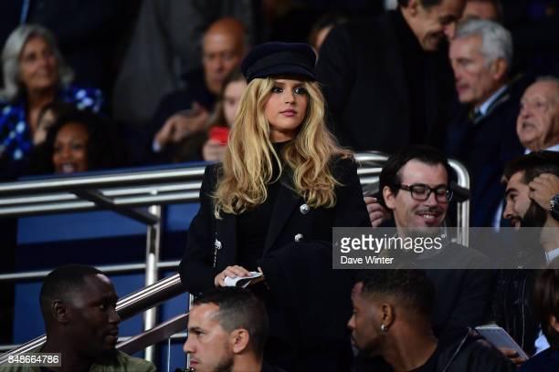 Julie Hantson wife of French singer Pascal Obispo during the Ligue 1 match between Paris Saint Germain and Olympique Lyonnais at Parc des Princes on...