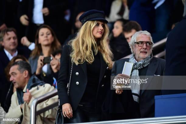 Julie Hantson wife of Pascal Obispo during the Ligue 1 match between Paris Saint Germain and Olympique Lyonnais at Parc des Princes on September 17...