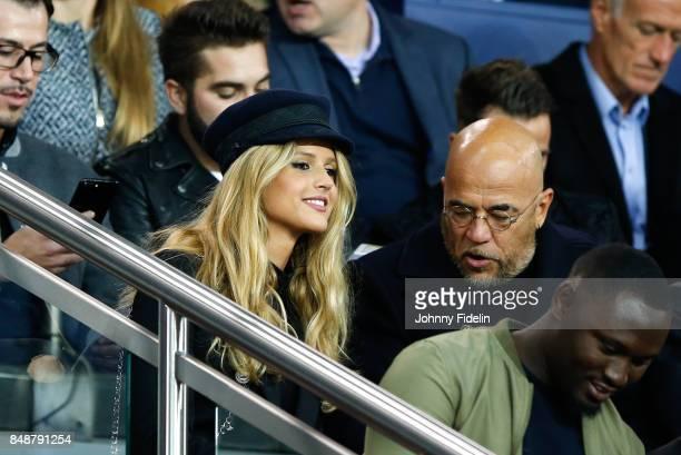 Julie Hantson wife of Pascal Obispo french singer during the Ligue 1 match between Paris Saint Germain and Olympique Lyonnais at Parc des Princes on...