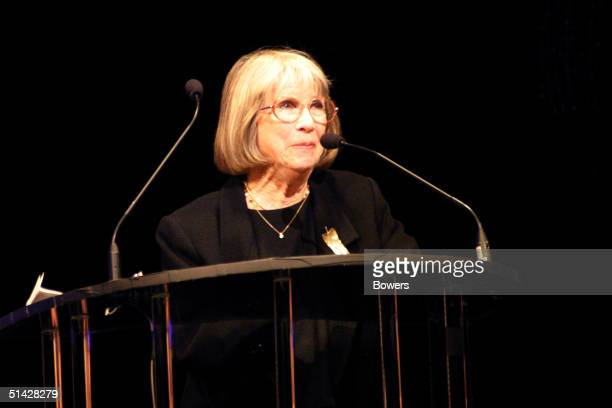 Julie Harris speaks at the memorial for Tony Randall at Majestic Theater October 5 2004 in New York City