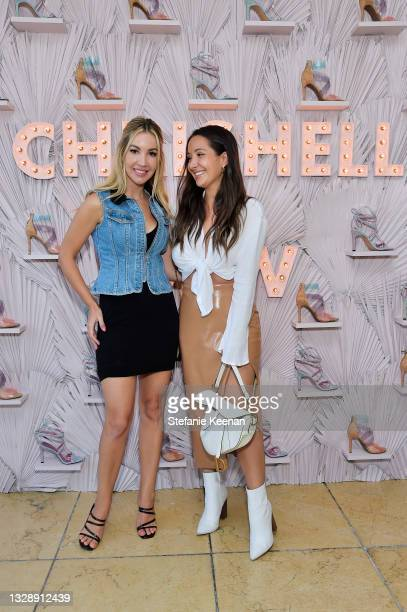 Julie Hartwell and guest attend the celebration of Chrishell Stause's DSW Fun, Flirty Capsule Collection at Sunset Tower Hotel on July 14, 2021 in...