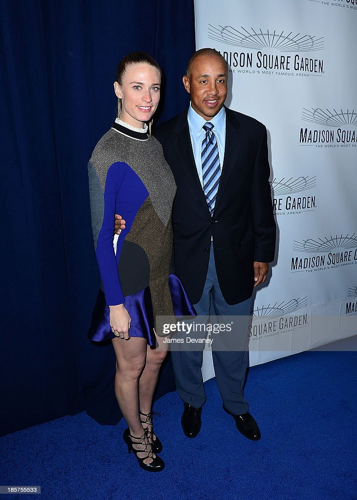 Julie Henderson and John Starks attend Madison Square Garden transformation unveiling at Madison Square Garden on October 24, 2013 in New York City.