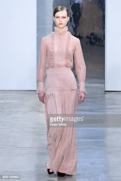 Julie Hoomans walks the runway at Carolina Herrera show during New York Fashion Week on February 13 2017 in New York City