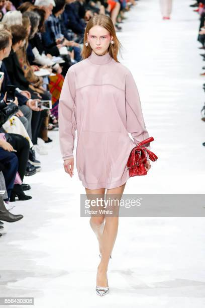 Julie Hoomans walks the runway during the Valentino show as part of the Paris Fashion Week Womenswear Spring/Summer 2018 on October 1 2017 in Paris...