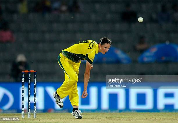 Julie Hunter of Australia bowls during the ICC Women's World Twenty20 match between Australia Woman and South Africa Woman played at Sylhet...