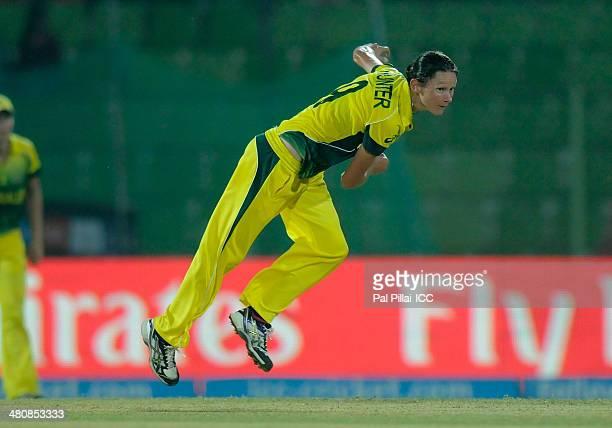 Julie Hunter of Australia bowls during the ICC Women's World Twenty20 match between Australia Women and Ireland Women played at Sylhet International...