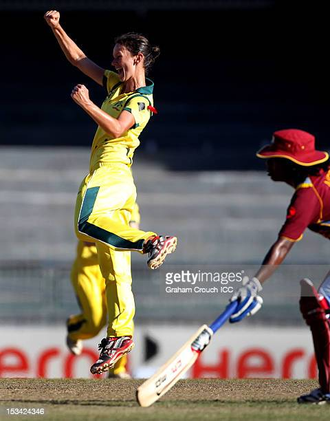 Julie Hunter of Australia celebrates a wicket during the ICC World T20 Women's Semi Final between Australia and West Indies at R Premadasa Stadium on...