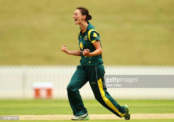 Julie Hunter of Australia celebrates a wicket during the Women's Oneday International match between the Australian Southern Stars and New Zealand at...