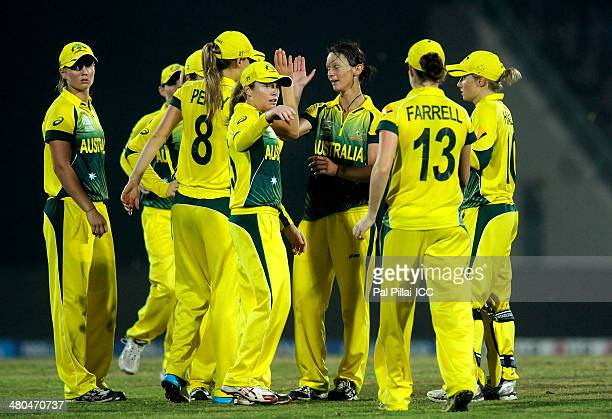 Julie Hunter of Australia celebrates the wicket of Shabnim Ismail of South Africa during the ICC Women's World Twenty20 match between Australia Woman...