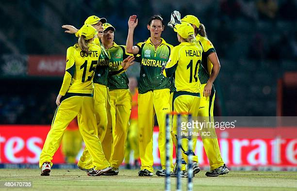 Julie Hunter of Australia celebrates the wicket of Yolandi van der Westhuizen of South Africa during the ICC Women's World Twenty20 match between...