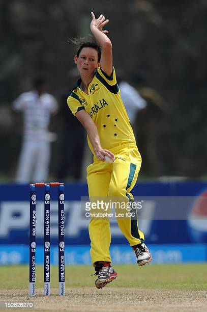 Julie Hunter of Austrlia in action during the ICC Women's World Twenty20 Group A match between Australia and India at Galle International Stadium on...