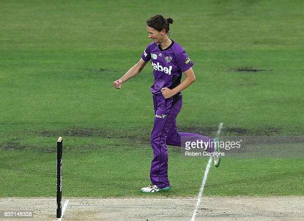 Julie Hunter of the Hurricanes celebrates taking the wicket of Meg Lanning of the Melbourne Stars during the Women's Big Bash League match between...
