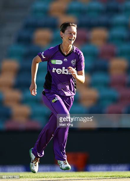 Julie Hunter of the Hurricanes celebrates taking the wicket of Stafanie Taylor of the Thunder during the Women's Big Bash League match between the...