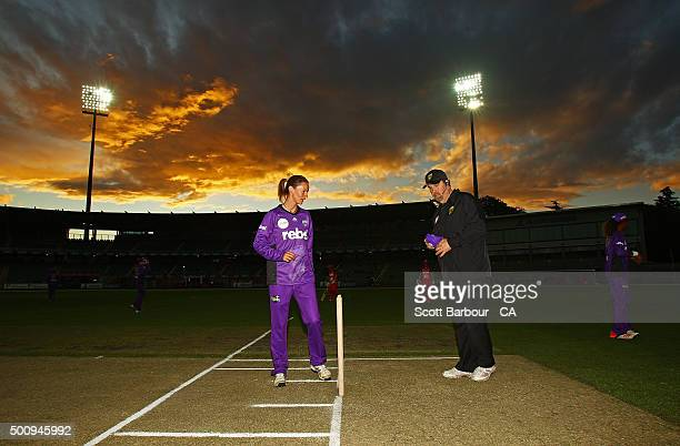 Julie Hunter of the Hurricanes prepares to open the bowling during the Women's Big Bash League match between the Melbourne Renegades and the Hobart...